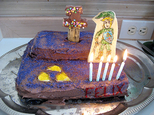 zelda cake with candles